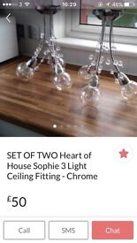SET OF TWO 3 Light Ceiling Crombe