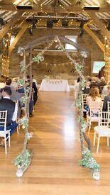 Rustic/vintage hardwood wedding arch.