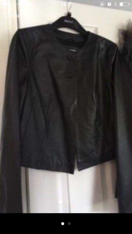 Black leather jacket from next size 10in Finaghy, BelfastGumtree - Black leather short style jacket fromNext immaculate condition size 10 good as new