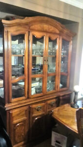 6 Chairs Dining Table Set Plus Hutch