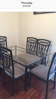 Glass table and cast iron chairs