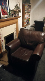 QUICK SALE - Leather sofa (bed) and armchairs
