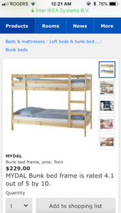 IKEA wooden bunk bed painted antique white