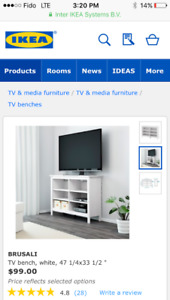 White wood Tv stand from IKEA (brusali)