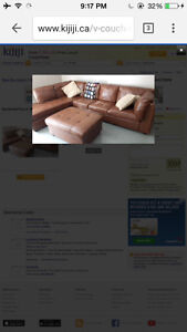 Brown sectional Leather with wear