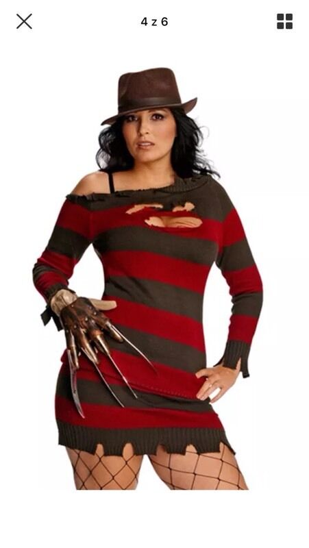 Freddy Kruger Lady Halloween Fancy Dress size 16/18