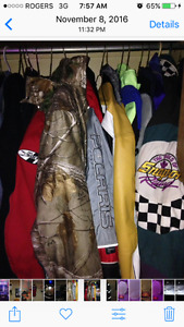 Various types and styles of boys or men's clothing and jackets