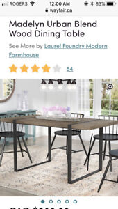 Modern  Wayfair dining table with 4 chairs - moving - must sell!