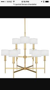 Elegant Solid Brass Chandelier & Matching Wall Sconces