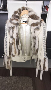 RUDSAK white leather jacket with real fur *Selling ASAP*