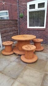 Cable reel table and 4 stools