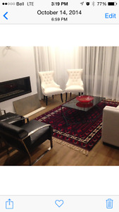 2 x Maison Corbeil white chairs with studs