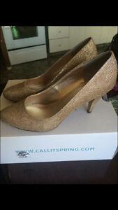 Sparkly, gold heels