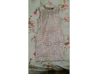 TOPSHOP RARE SILVER SEQUENCED BODYCON COCKTAIL DRESS SIZE 12 RRP £149.99
