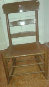 Wooden Rocking chair - Ladder high back with a leather seat