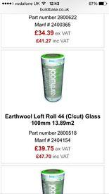 Earthwool loft roll 44 - each roll 13.89m2