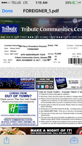 2 Foreigner tickets for sale