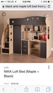 Black and maple loft bed and mattress