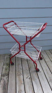 Two Tier Vintage Retro Red n White Serving Cart w Baskets