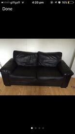 3 seater black leather