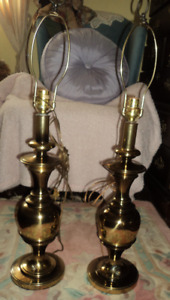 Tall Brass Lamps  with Shades         Sussex