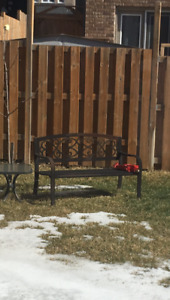 Outside cast iron bench