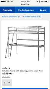 IKEA bunk bed with attached desk and mattress
