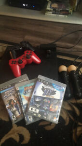 PS3 with accessories and a few games