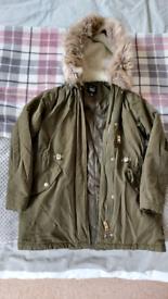 Lovely girls khaki winter jacket age 9