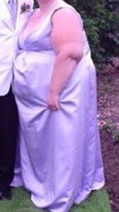 Lilac plus size bridesmaids dress