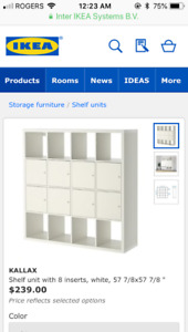 IKEA cubbies, Hemnes shelving unit, small table, Billy bookcase