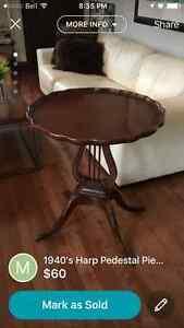 1940's Harp Pie Crust Pedestal Table