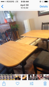 Oak Table with six chairs