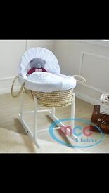 Moses basket, rocking stand, mattress & 2 fitted sheets