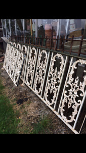 Vintage old White Wrought Iron Fencing outdoor decor pattern