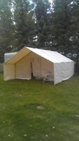 New 14x16 wall tent with frame and 7ft porch