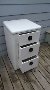 Vintage Industrial Wood w Enamel Medical Cabinet w Three Drawers London Ontario image 2