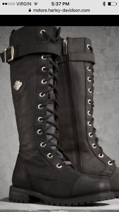 Leather tall lace and zip Harley Davidson boots
