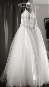 White Halter Ball Gown