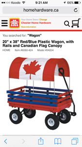 Child's covered wagon with skis