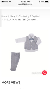 6 Month old Baby boy baptism outfit (used only once)