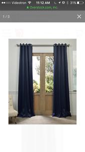 2 paires de rideaux bleu marines neuves