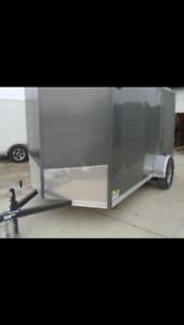 6x10 V-Nose ramp door plus motorcycle wheel chock