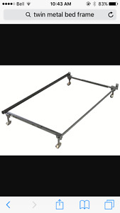 Twin metal bed frame and boxspring