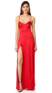 Michelle Mason red bustier gown with slit