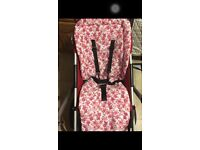 Custom made pink buggy liner for bugaboo buggies