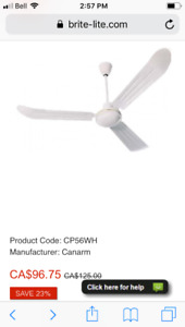 Canarm White Ceiling Fan NEW, still in box