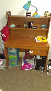 Student wooden Desk with top shelves