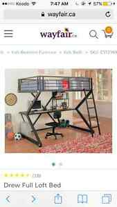 Full size loft bed,with shelves and desk