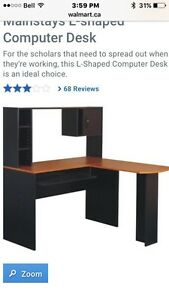 Black and cherry L-shaped desk